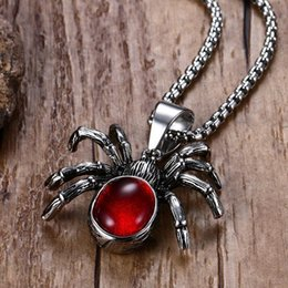necklaces pendants Australia - Mens Punk Vintage Retro Black Widow Spider Stainless Steel Pendant Necklace Gothic Red Stone Male Biker Goth Jewelry 24""