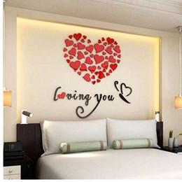 Art Love Wallpaper Australia - Romantic DIY Art 3D Acrylic Love Heart Wall Sticker Bedroom Living Room wedding decoration wall stickers muraux wallpaper D30M25
