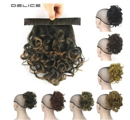 auburn ponytail hairpiece NZ - 12inches Clip In Afro Curly Ponytail Synthetic Hair Heat Resistance Fiber Drawstring Rope Ponytails Hairpieces 60g pcs