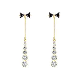 Long Nails Girls UK - Ins Girl Heart Butterfly Knot Ear Nails Japanese and Korean Long Slender Zircon Ribbon Earrings Earrings Earrings E664