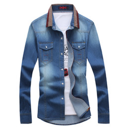long shirts designs jeans 2019 - 2018 New plus size shirt Arrival Denim Shirt Men real Blue Long Sleeve Casual Jeans Design Shirts Clothes Plus Size M-5X
