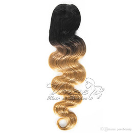 ombre long weave 2019 - Brazilian 1B 27 Two Tone Strawberry Blonde Ombre Color 100g 120g Long Body Wave Clip Drawstring Human Hair Weave Ponytai