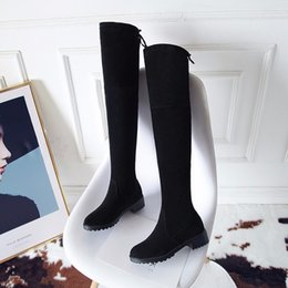 riding boots fashion knee high 2019 - Thigh High Boots Female Winter Boots Women Over The Knee Flat Stretch Sexy Fashion Shoes 2018 Black Grey New Riding disc