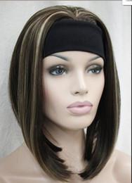 Blonde half wigs online shopping - WIG Fashion Medium Brown Blonde Mixed Cute with headband Women half Wig TLD102 Hivision