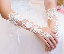 $enCountryForm.capitalKeyWord Australia - Bride's wedding lace, finger gloves, hollow diamond strap gloves, wedding dress accessories