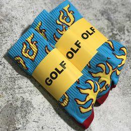 Wools socks online shopping - 2pairs Men women golf socks cotton hip hop streetwear wool socks gift flame harajuku long socks knaye west crew Towel winter sock