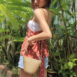 wholesale straw ladies handbags UK - Summer Weaven Women Straw Messenger Bags Shell Mini Beach Bag Small Children Kid Croosbody Shoulder Bag Lady Handbag mini size