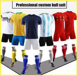 custom soccer team uniforms NZ - Custom football jersey best-equipped Custom uniforms adult children's soccer suit kit personalized printed jerseys soccer practice team