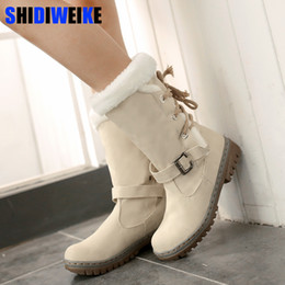 Lady Snow Boots Mid Calf Australia - Fashion Cotton Boots Winter Women Mid-calf Boots with Fur Leather Lace Up Ladies Shoes Plus Size 34-43 Snow Boots n225