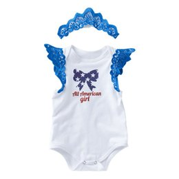 SuitS white colour online shopping - Girls Rompers Clothing Sets Wing Sleeveless Star Print Rompers Two Piece Suit American Flag Independence National Day Hollow Headband