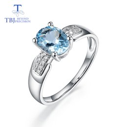 diamond necklace bracelet ring set 2019 - TBJ,14K white gold rings 100% natural aquamarine with diamond gemstone fine jewelry apply to proposal ring & bridal jewe