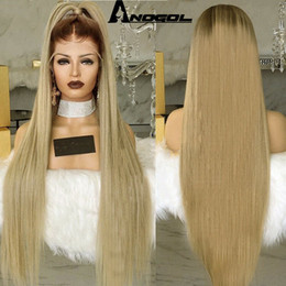 $enCountryForm.capitalKeyWord NZ - Anogol Synthetic Lace Front Wig Blonde Peluca Long Straight Ombre Wigs For Women