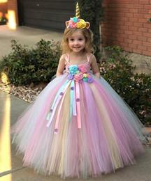 $enCountryForm.capitalKeyWord Australia - Pink floral Girls Dresses Unicorn Princess Dresses Baby Girl Dress+headband 2pcs set kids Pettiskirt Dress Long Childrens Tutu Dresses A2950