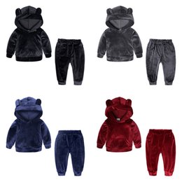 Wholesale Baby girls boys Gold velvet outfits children Bear ear Hooded top pants set Autumn Winter suit Boutique kids Clothing Sets C5589