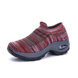 7 Colors Air Cushion Platform Sneakers Women Running Shoes Slip On Knitted Sock Shoes Hit Color Mesh Basket Trainers Ladies New on Sale