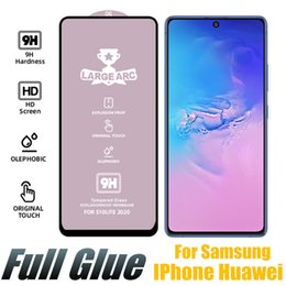 iphone samsung tempered screen NZ - New Full Glue Tempered Glass 9H Large ARC Screen Protector For Samsung A71 A90 A30S A40S M20 Huawei P Smart 2019 IPhone With Retail Box
