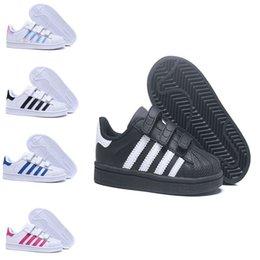 Ingrosso Adidas  Superstar Trasporto libero 6 colori Bambini stella eccellente Fashion Big Kids Ragazzi e pattini di skateboard della ragazza Sneakers Scarpe sportive in pelle casual