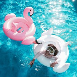 Infant Pool Inflatables Australia - Kids Flamingo Inflatable Swimming Ring Swan Pool Air Mattress Float Toy Baby Water Toy Infant Swim Ring Cartoon Accessories TTA808
