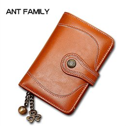 small ladies wallets 2020 - High Quality Genuine Leather Women Wallet Small Female Short Wallet Ladies Mini Coin Purse Fashion Retro Oil Wax Leather