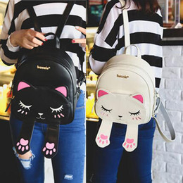 $enCountryForm.capitalKeyWord NZ - Cute Cat Backpack School Women Pu Leather Backpacks for Teenage Girls Funny Cats Ears Canvas Shoulder Bags Female Mochila XA531B