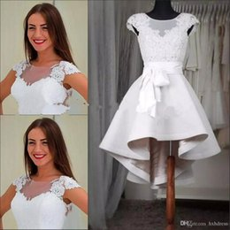 $enCountryForm.capitalKeyWord Australia - 2019 Elegant White Lace Short Homecoming Dresses Cap Sleeves Sheer Crew Appliques Lace Satin High Low Prom Dresses Custom Made Party Gowns