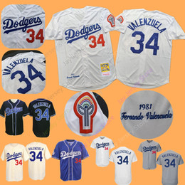 f9671da1df8 Fernando Valenzuela Jersey Adult Mens 1981 Cooperstown Dodgers Jerseys  Cream Baby Blue White Grey Home Away All Stitched