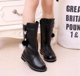 Ball zip online shopping - Fashion Fur Ball Children Shoes Girls Boots PU Leather Big Kids Ankle Martin Boots Winter Plush Girls Princess Shoes