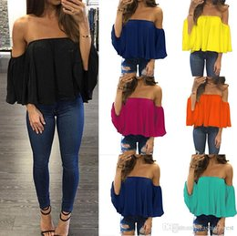 sexy off shoulder womens shirt 2019 - Womens Tops New Tops Off shoulder Shirt Women Chiffon Top Summer Flare Sleeve Blouse T shirt blouse cheap sexy off shoul