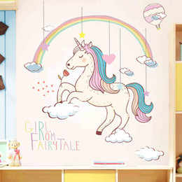$enCountryForm.capitalKeyWord Australia - 1PC Rainbow Animal Unicorn Wall Sticker 3D Art Decal Sticker Child Room Nursery Wall Decoration Home Decor