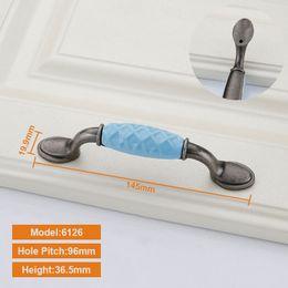 Kitchen pulls for cabinets online shopping - Furniture Handle Ceramic Door Handles mmm Hole Pitch Furniture Handles Knob Wardrobe Door Pulls for Cabinet Cupboard Kitchen
