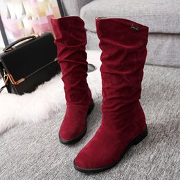 $enCountryForm.capitalKeyWord Australia - Autumn Winter Women Boots Shoes Ladies Long Sweet Boot Stylish Flat Flock Shoes Snow Boots Female Keep Warm High Quailty Fashion