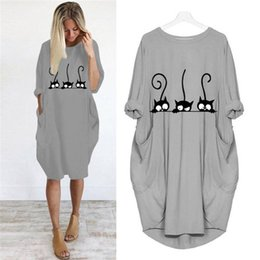 cotton maxi dress pockets UK - Dress Cute Cat Printing Pocket Loose Dress Vintage Fall Maxi Clothes Woman Casual Dresses Party Dresses Plus Size