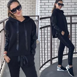 $enCountryForm.capitalKeyWord Australia - Big lazy cat 2019 Spring Autumn Two-piece Tracksuit Jogging Suits For Women Sport Suits Patchwork Hooded Running Sets Sweat Pants Z25