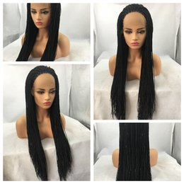 Glueless Wig Braids For Australia - Best Quality 1b# Black Twist Braiding Long Wigs Cheap Box Braided Glueless Synthetic Heat Resistant Lace Front Wigs for Black Women