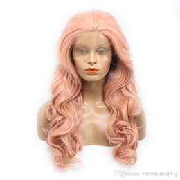 Body Charms Australia - Charming Rose Gold Body Wave Long Wig Synthetic Lace Front Wigs With Baby Hair 180% Density Heat Resistant Wigs For Black Women