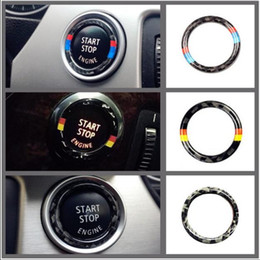 $enCountryForm.capitalKeyWord Australia - Fashion For bmw e90 e92 e93 Carbon Fiber Car Engine One click Start Stop Ring M Stripe Trim Circle Ignition Key Ring 3 Series Accessories