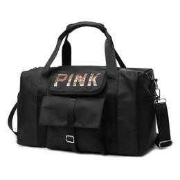 Ingrosso Paillettes Lettera Stampa Weekend sacchetti di Duffel unisex bagaglio di viaggio Borse fitness per le donne gli uomini Deposito rosa Stampa Sport Bag