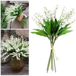 Fake lilies Flowers online shopping - Fake Flower Wind Chime Orchid Hard Plastic White Color Mountain Valley Lily Artificial Flowers Marry Birthday Party Decorations sb E1