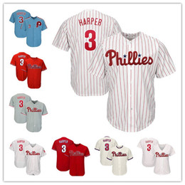 Wholesale Men s Philadelphia Bryce Harper Phillies baseball stitched Button Down Jersey size s xxxl High quality
