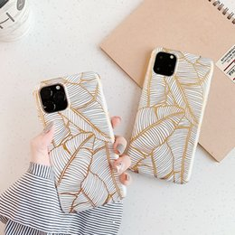 pro plates Australia - For iPhone 11 Pro INS Gold Leaf case X XR XS Max 6 6S 7 8 Plus Plating Leaves Phone Cases Soft IMD Back Cover