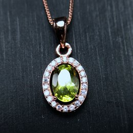 Pendant Oval Australia - Uloveido Oval Green Peridot Gemstone Wedding Pendant Necklace Women 925 Sterling Silver Necklace Pendant for Women FN288