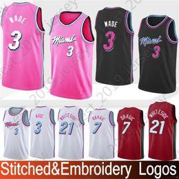 87f754a1abb Embroidery Miami 3 Wade Dwyane Heat Jerseys 7 Dragic Goran 21 Whiteside  Hassan new orleans 23 Davis Anthony pelicans Stitched Jerseys