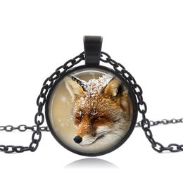 Cute fox jewelry online shopping - Cute Fox Pattern Pendant Necklace Vintage Glass Round Color Pendant Print Jewelry Gift for Friends