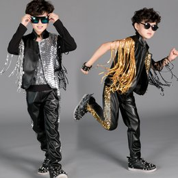 $enCountryForm.capitalKeyWord NZ - Hip Hop Costume Boys Sequined Fringed Jacket Top Pants Kids Street Dance Clothes Children Stage Outfit Performance Wear DN2979