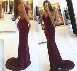 $enCountryForm.capitalKeyWord NZ - Sexy Burgundy Cheap Prom Dresses V Neck Spaghetti Straps Mermaid Full Lace Crystal Beads Bling Backless Formal Evening Dress Party Gown