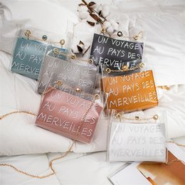 $enCountryForm.capitalKeyWord Canada - Girl jelly clear shoulder bag clutch bags 6 colors jelly Transparent bags Square Package Super Chain designer crossbody bag CJY630