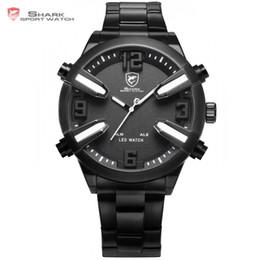 bf844c2fbb30 Dogfish Shark Reloj deportivo Blanco Negro Fecha Alarma LED analógico  Correa de acero inoxidable relogio Hombres Hombres Marca de moda Relojes    SH323