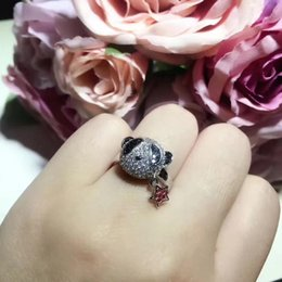 panda jewelry crystals Australia - Fashion jewelry romantic crystal cute panda ring sparkling star ring for women colorful cz zircon popular party jewelry