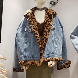 short hair rabbit UK - 2019 Winter Fashion Leopard High Imitation Rex Rabbit Hair Loose Thickened Denim Padded Women Street Jacket Chamarras De Mujer T191026