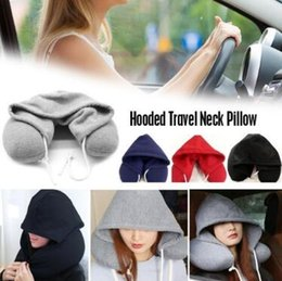 Wholesale Soft Hooded U pillow Body Neck Pillow Solid Grey Nap Cotton Particle Pillow Textile Home Airplane Car Travel Pillow CCA11013